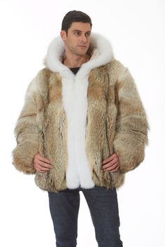 This coyote fur jacket for men is a blast of style! A strongly masculine fur, this coyote jacket is finely crafted to create a ruggedly handsome jacket that is perfect for any occasion all winter long! | eBay!