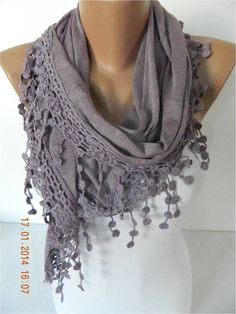 Fashion Scarf Cotton Scarf with trim by MebaDesign.