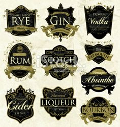 Assorted vintage liquor labels Royalty Free Stock Vector Art Illustration