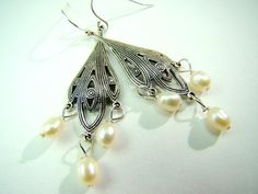Silver and Pearl Chandelier Earrings by strandsofgrace on Etsy, $15.00