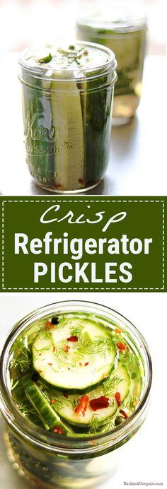Crisp, refreshing, refrigerator pickles. Kick it up with a little heat! So quick and easy! Basilandoregano.com
