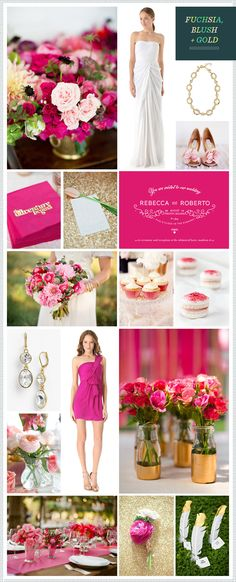 Fuchsia, Blush + Gold Wedding Inspiration