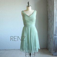 Wedding dress , chiffon party dress,  bridesmaid dress,  formal dress in light mint blue( B059) on Etsy, $98.00