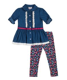 Love this Chambray Top & Floral Leggings - Infant, Toddler & Girls on #zulily! #zulilyfinds
