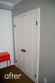 How to replace sliding closet doors with standard doors (tutorial). Great updated look!