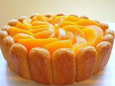 Happy Home Baking: Mango and Peach Charlotte Cake ¿Quieres hacer postres en casa pero zero Charlotte Royal, Charlotte Cake, Peach Cake, Plum Cake, Charlotte Russe Dessert, Cake Recipes, Dessert Recipes, Fruit Dessert, Mango Cake