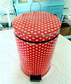 Give Your Stainless Steel Garbage Can A Fun Decoupage Makeover
