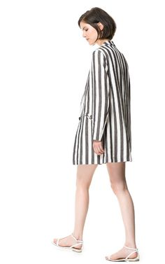LINEN FROCK COAT WITH PRINTED STRIPES - Coats - Woman | ZARA United States