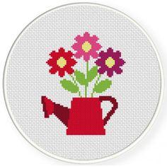 Flower Sprinkle Handmade Unframed Cross Stitch Home Decor Cross Stitch For Kids, Mini Cross Stitch, Cross Stitch Heart, Cross Stitch Cards, Simple Cross Stitch, Cross Stitch Flowers, Cross Stitching, Cross Stitch Embroidery, Embroidery Patterns
