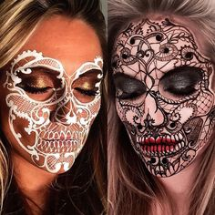 """8,352 Me gusta, 136 comentarios - ________VANESSA DAVIS________ (@the_wigs_and_makeup_manager) en Instagram: """"Black & White Lacy Skulls ⚪️⚫️ I love doing different versions of a theme and I've been meaning…"""""""