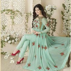 India Emporium provides you with a beautiful collection of casual and party wear salwar Kameez. We also offer designer salwar kameez that you can sport on special occasions. Indian Gowns Dresses, Indian Fashion Dresses, Pakistani Dresses, Indian Outfits, Pakistani Clothing, Indian Anarkali, Eid Dresses, Bollywood Suits, Bollywood Dress