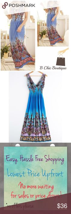 """Boho Print Blue Maxi Dress Beautiful V-neck Boho maxi dress with multi color prints. Elastic waistband and stretchy jersey material. Made of polyester. Striped. Pair with your favorite wedges or sandals!   One size fits most.  Bust: 31"""" ~ 39.50""""  Length: 50"""" ~ 53""""  PRICE FIRM NO TRADES Bchic Dresses Maxi"""