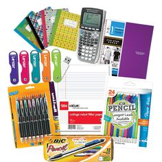 School Supplies Graphing Calculators Flash Drives Cool Mechanical Pencils And Fun Composition Notebooks