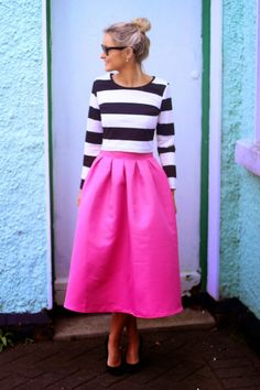 Pink Midi Skirt with Black and White Striped Top