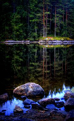 Midnight blue by Antti-Jussi Liikala, via Flickr, Looking over a narrow strait at night in Finland