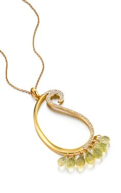 One-of-a-kind citrine briolettes & diamond paisley pendant by MADHURI PARSON for Preorder on Moda Operandi