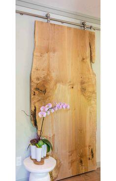 Sliding finished wood slab door in Kirkland, Washington condo retreat - by Amy May, May Designs, Seattle, WA. Barn Door Decor, May Designs, Live Edge Wood, Condo Living, Door Makeover, Wood Slab, Wood Doors, Slab Doors, Door Design