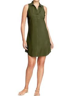 BUY. Womens Sleeveless-Collared Crepe Dresses | Old Navy. i would suggest either the olive (would look really pretty with your skin) or black
