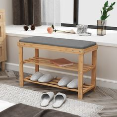 Modern Style Bamboo Shoe Bench Rack with Cushion Upholstered Padded Seat Storage. Modern Style Bamboo Shoe Bench Rack with Cushion Upholstered Padded Seat Storage Bench Shoe Storage Organiser, Shoe Rack Organization, Entryway Shoe Storage, Seat Storage, Bench With Storage, Storage Shelves, Closet Storage, Entryway Bench, 3 Tier Shoe Rack
