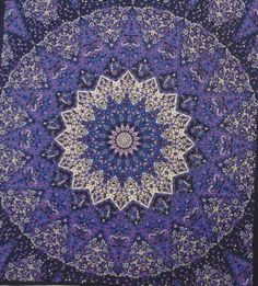 Indigo purple Star mandala wall decor Indian hand printed wall hanging tapestry bed throw mandala print boho tapestry beach sheet  SFD020 by colornframe on Etsy