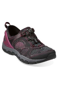 66a6ab007858 Inframe Ease in Black Mesh with Pink - Womens Shoes from Clarks