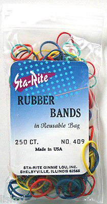 Sta-Rite #409 Assorted Color Hair Pony tail Rubber band holder, 250 ct. LMS