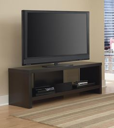 Dorel Home Furnishings 60 Hollow Core TV Stand Multiple Colors, Black Forest