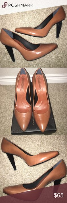 New BCBG Funky Heel Cognac Pumps Heels Size 10 One of a kind BCBG pumps.  Four inch heel.  The tip of the right shoe has some scratching that can only be noticed if you look at it up close.  Style name is Livia.  Comes with box. BCBGMaxAzria Shoes Heels