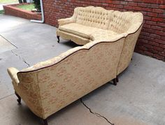 Rare French Provincial Sectional Sofa Tufted By HarrisMarksHome