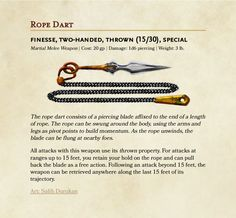 Dungeons And Dragons Classes, Dungeons And Dragons Characters, Dungeons And Dragons Homebrew, Dnd Characters, Rope Dart, Dnd Stats, Dnd Dragons, Dungeon Master's Guide, Dnd Classes