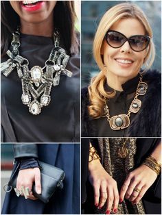 Style Files: Black on silver or gold? Although the black-on-black ensemble is a New York City staple (especially in the fashion world) it doesnt have to be basic. Adding silver or gold jewelry is a subtle way of adding dimension to a monochrome outfit. Silver baubles will cool dark colors, while gold tones will add warmth. What do you prefer? Images via Vogue and WDUGT Street