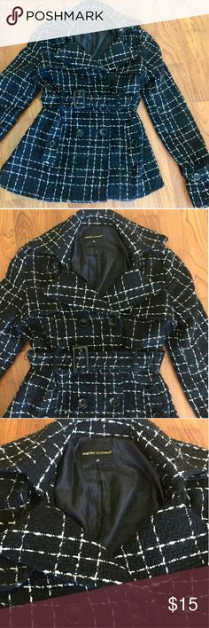 Tweed Peacoat Tweed Peacoat. Size medium. Cinch waist with buttons and belt. Double breasted. Poetry Jackets & Coats Pea Coats