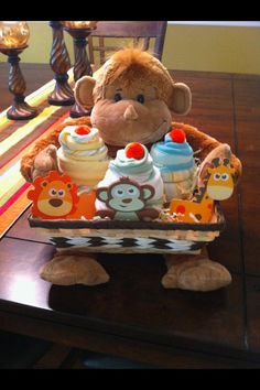 Cupcakes Gift Basket- have teddy bear instead of a monkey?
