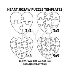 Heart Jigsaw Puzzle Templates AI EPS SVG pdf dxf files, Heart Shape Puzzle Template svg, Scalable puzzle template, printable puzzle template by kYoDigitalStudio on Etsy Puzzle Piece Template, Heart Shapes Template, Shape Templates, Puzzle Piece Crafts, Puzzle Pieces, Puzzle Board, Printable Puzzles, Templates Printable Free, Printables