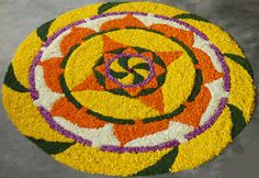 We have picked some colourful flower rangoli designs for you. Make these creative, simple flower rangoli designs on festivals like Diwali and Onam. Easy Rangoli Patterns, Rangoli Designs Flower, Rangoli Designs Images, Flower Rangoli, Beautiful Rangoli Designs, Rangoli Ideas, Flower Designs, Diwali Decorations At Home, Festival Decorations