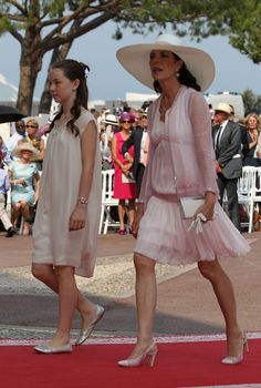 Princess Carolina of Monaco and her younger daughter.