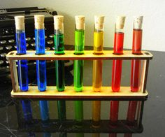 Seven Test tubes with Corks and Holder Mad by EtchedinTimeLLC, $19.00