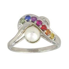 Rainbow Sapphire & Pearl Classic Ring 925 Sterling Silver (1/4ct tw)