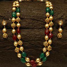 Royal double line Onyx Necklace Set