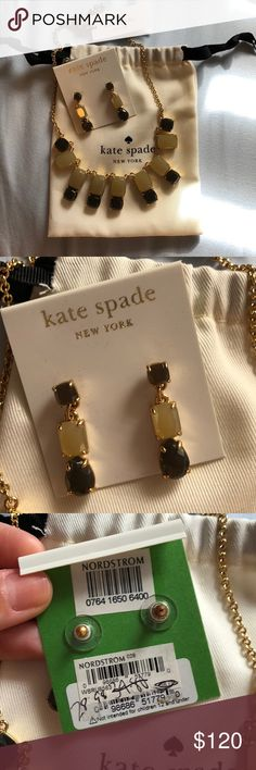 Kate Spade Necklace & Earring Set Beige/Taupe/Grey-Brown color scheme with gold plated metal. Adjustable length necklace and dangling earrings. New with tags & never worn! kate spade Jewelry Necklaces