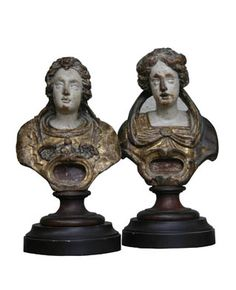 Pair of Italian Carved Polychrome Wood Reliquary Busts c. 1770