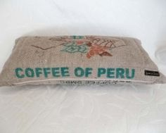 pillow made from an old burlap coffee bag..adorable!