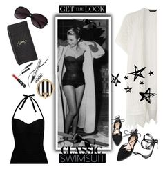 """""""Old Hollywood Glam swimsuit"""" by starspy ❤ liked on Polyvore featuring Dorothy Perkins, George, Jane Tran, Yves Saint Laurent, NYX, Henri Bendel, Chantecaille, GetTheLook, celebrity and hollywood"""