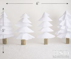 Christmas Photography Backdrop | White Paper Trees