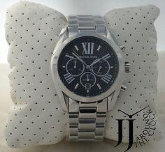 New Michael Kors Bradshaw Silver Tone Bracelet Black Dial in Jewelry & Watches Michael Kors Boots, Michael Kors Watch, Bling Bling, Chronograph, Jewelry Watches, Jewellery, My Style, Bracelets, Silver