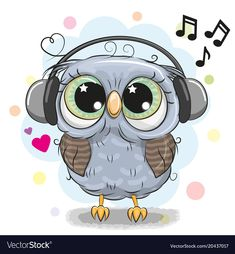 Cute cartoon Owl with headphones. Cute cartoon Owl with big eyes with headphones vector illustration Cartoon Cartoon, Cartoon Owl Drawing, Cute Owl Drawing, Cute Owl Cartoon, Kids Cartoon Characters, Cute Animal Drawings, Cute Drawings, Cute Owls Wallpaper, Wallpaper Iphone Cute