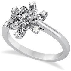 Allurez Small Diamond Snowflake Shaped Fashion Ring 14k White Gold... (690 AUD) ❤ liked on Polyvore