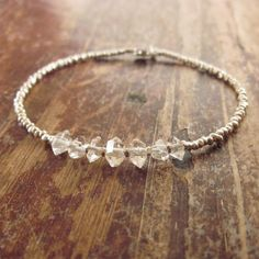 Herkimer Diamond Bracelet with Karen Hill Tribe Silver Beads, Beaded Bracelet, Stone Bracelet, Beadwork Bracelet, Woman's Bracelet, Gift on Etsy, $77.24 CAD