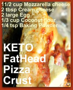 Low Carb Gluten-free Fat Head Keto Pizza Crust Recipe 😋 Easy recipe for a KET. - Keto kicking and screaming - Pizza Recipes Keto Pizza Crust Recipe, Pizza Sin Gluten, Low Carb Pizza, Low Fat Low Carb, Fat Head Pizza Crust, Fat Head Dough, Fat Head Bread, Cena Keto, Cauliflowers