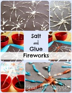 School Time Snippets: Salt and Glue Fireworks: Fine Motor Art Activity (maybe Diwali activity) Bonfire Crafts For Kids, Bonfire Night Activities, Bonfire Night Crafts, Fireworks Craft For Kids, Diwali Fireworks, Fireworks Art, 4th Of July Fireworks, July 4th, Diwali Activities